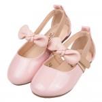 (15~19公分)甜美風格蝴蝶結粉色亮皮兒童娃娃鞋公主鞋V#...