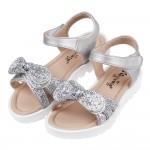 (15~19公分)閃亮銀色蝴蝶結輕便兒童涼鞋V#HH3KQ*...