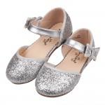 (15~19公分)閃亮銀白蝴蝶結兒童公主涼鞋V#HH2HQ*...