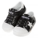 (14~18公分)韓風經典皮質帆布星星黑色兒童休閒鞋