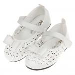 (13.5~15.5公分)娃娃風雕花白色蝴蝶結寶寶公主鞋