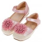 (15~20公分)夏日編織緹花粉色兒童公主鞋