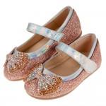 (14.5~18.5公分)雙色亮鑽蝴蝶結金粉色寶寶公主鞋