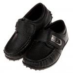 (15.5~20公分)荔枝皮紋豆豆底黑色小紳士兒童皮鞋