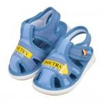 (12.5~14.5公分)布質透氣藍色寶寶嗶嗶涼鞋P#HN3...