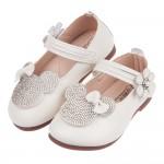 (13~15公分)可愛小老鼠鑽飾米白色皮質娃娃鞋P#FH3KG*GXX