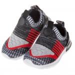 (14~16公分)玩酷個性紅黑色立體針織面窄版寶寶運動鞋