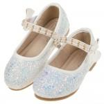 (15.5~20公分)珍珠鍊帶冰藍亮片白色兒童公主鞋