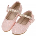 (15.5~19公分)珍珠鍊帶玫粉亮片粉色兒童公主鞋