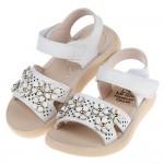(13.5~19公分)桐花雅趣白色兒童皮質涼鞋