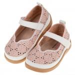 (15~19公分)盛開花朵粉色雕花皮紋兒童娃娃鞋