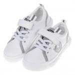 (16~21公分)帥氣炫銀白色皮質兒童休閒鞋