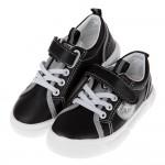 (16~21公分)帥氣炫銀黑色皮質兒童休閒鞋