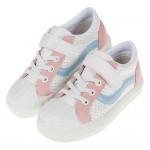 (17~23公分)台灣製流行粉白色皮質帆布兒童休閒鞋