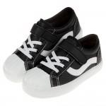 (17~23公分)台灣製流行黑白色皮質帆布兒童休閒鞋