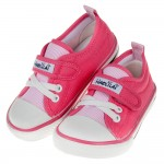 (15~20公分)百搭時尚粉色條紋兒童帆布休閒鞋
