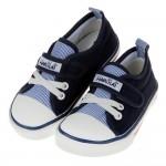 (15~20公分)百搭時尚藍色條紋兒童帆布休閒鞋