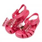 (14~17.5公分)ZAXY幻想曲桃紅色蝴蝶結兒童護趾涼鞋...