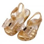 (14~17.5公分)ZAXY幻想曲黃金色蝴蝶結兒童護趾涼鞋...