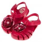 (12.5~17.5公分)ZAXY綺麗牡丹花桃紅色寶寶護趾涼鞋香香鞋