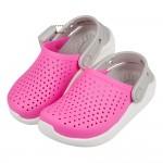 (18~22公分)Crocs卡駱馳趣味LiteRide電光粉兒童布希鞋V#GN4NG*XGG