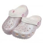 (16.5~20公分)Crocs卡駱馳經典閃亮牡蠣粉色兒童布...