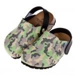 (14.5~20.5公分)台灣製迷彩綠色兒童歐風氣墊護趾拖鞋R#GD3NC*XBX