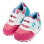 (14.5~19公分)台灣製魅力桃藍白兒童機能鞋墊運動鞋